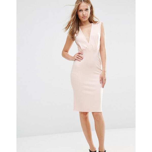 ALTER V Neck Pencil Midi Dress - Midi dress by Alter, Stretch ponte, Plunge v-neckline,...