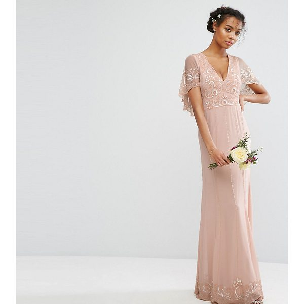 "AMELIA ROSE Cape Maxi Dress with Embellishment and Scalloping - """"Maxi dress by Amelia Rose, Lined chiffon, Bead and sequin..."