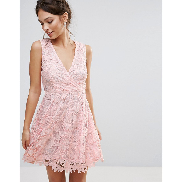 "AMY LYNN OCCASION Occasion 3D Floral Lace Dress - """"Lace dress by Amy Lynn, Lined lace, V-neck, Wrap front,..."