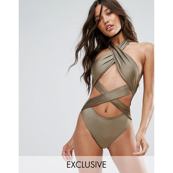 """AND CO And Co Cross Over Cut Out Swimsuit - """"""""Swimsuit by AndCo, Plain swim fabric, High neck,..."""