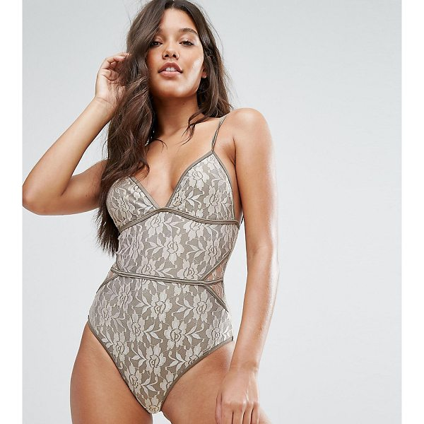 """AND CO And Co Gold Lace Swimsuit - """"""""Swimsuit by And Co, Lace swim fabric, Plunge neck, Piped..."""