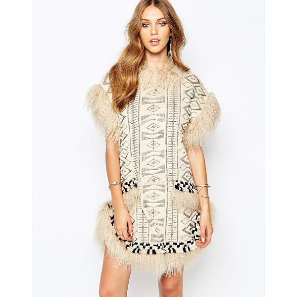 ANNA SUI Mongolian faux fur dress - Dress by Anna Sui Soft faux fur All over geo design Round...