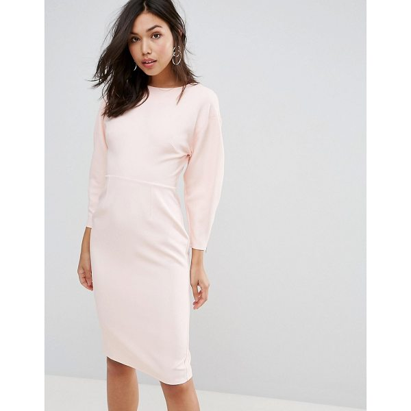 """ASOS 80s Clean Dome Sleeve Midi Pencil Dress - """"""""Dress by ASOS Collection, Smooth stretch fabric, High..."""