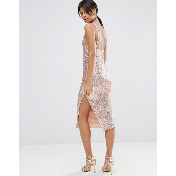 ASOS 90's Sequin Cami Strappy Back Midi Dress - Dress by ASOS Collection, Sequin embellished fabric, Square