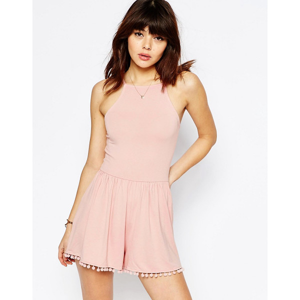 ASOS 90's Strappy Romper with Tie Back and Pom Pom Hem - Romper by ASOS Collection, Soft-touch jersey, Square...