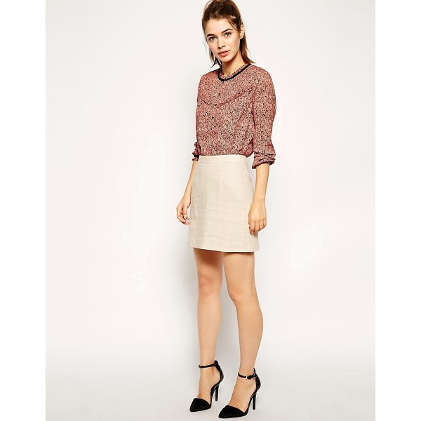 ASOS A-Line Linen Mini Skirt - Skirt by ASOS Collection, Soft touch, lightly textured...
