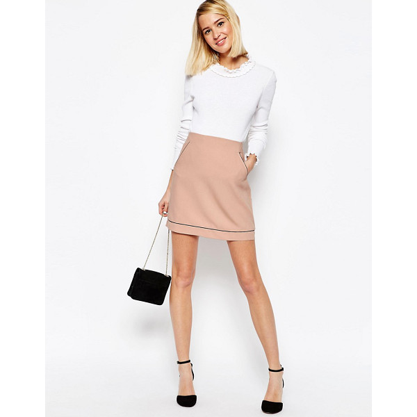 ASOS A-Line Skirt with Piping Detail - Skirt by ASOS Collection, Lined crepe, Added stretch for...