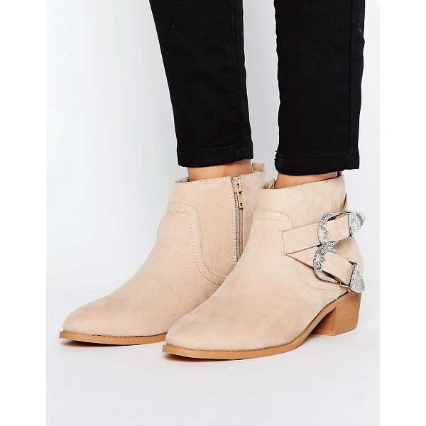 ASOS ARIZONA Western Ankle Boots - Boots by ASOS Collection, Textile upper, Faux-suede finish,...