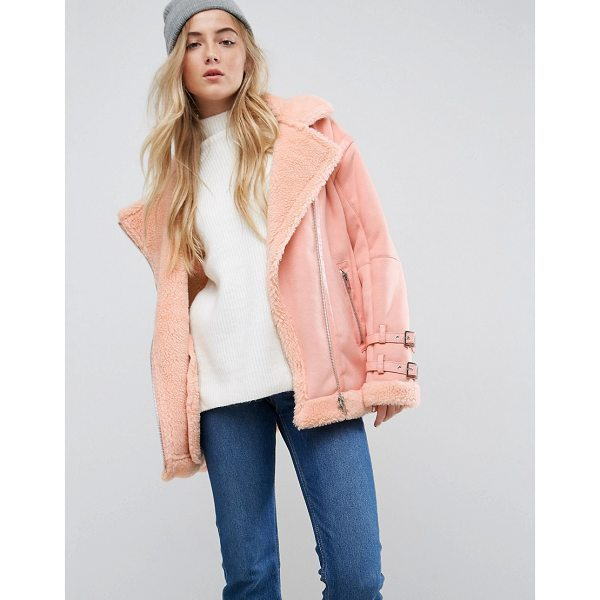 ASOS Aviator Jacket in Faux Suede - Jacket by ASOS Collection, Borg lining, For feeling smugly...