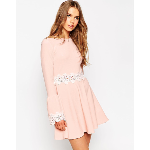 ASOS Babydoll dress with flared sleeve and lace trim - Evening dress by ASOS Collection Smooth knitted fabric...