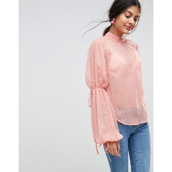 ASOS Balloon Sleeve Blouse in Dobby - Blouse by ASOS Collection, Dobby mesh knit, Sheer finish,...