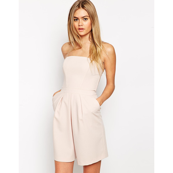 ASOS Bandeau pleat front romper - Romper by ASOS Collection, Lightweight lightly textured...