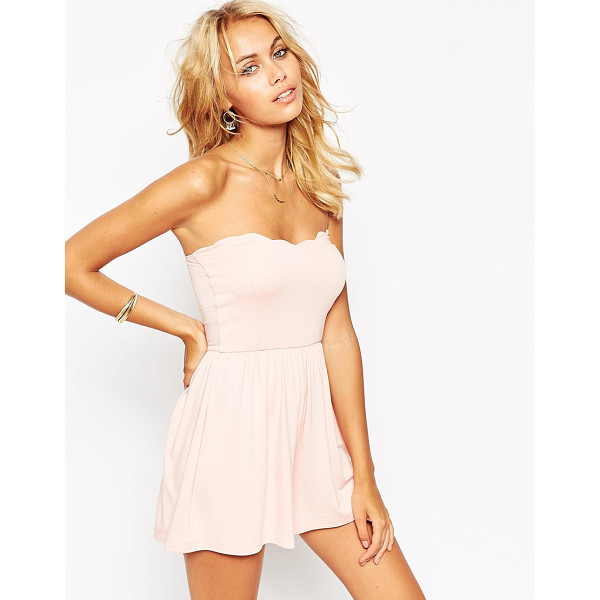 ASOS Bandeau romper with scallop edge - Romper by ASOS Collection Lightweight, soft-touch jersey...