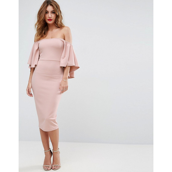 """ASOS Bardot Fluted Sleeve Midi Dress - """"""""Dress by ASOS Collection, Smooth stretch fabric,..."""