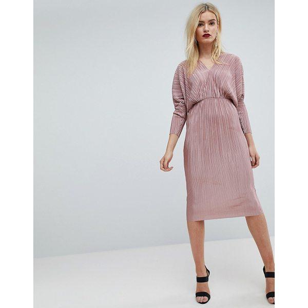 ASOS Batwing V-Neck Plisse Midi Dress - Dress by ASOS Collection, V-neck, Batwing sleeves, Fitted...