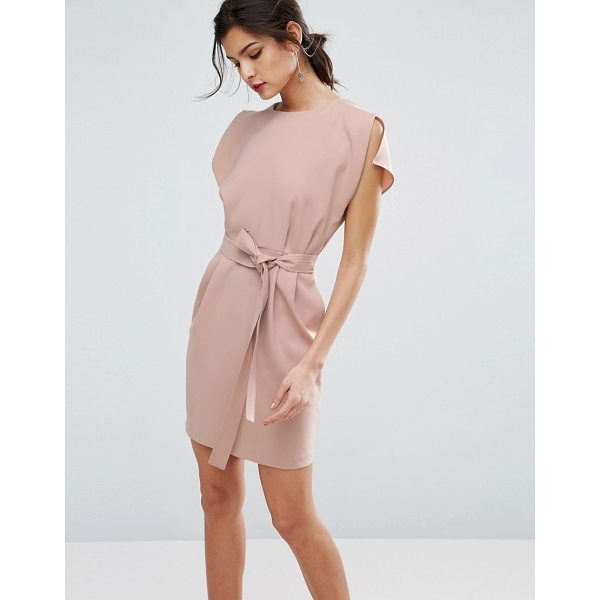 "ASOS Belted Mini Dress with Split Cap Sleeve - """"Dress by ASOS Collection, Smooth woven fabric, Crew neck,..."