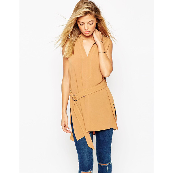 ASOS Belted sleeveless utility tunic top - Top by ASOS Collection Lightweight woven fabric Lightly...