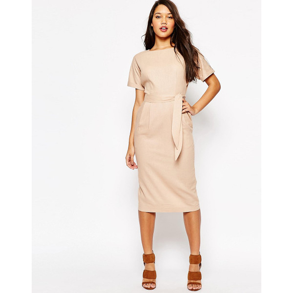 ASOS Belted Wiggle Dress - Dress by ASOS Collection, Linen-mix fabric, Boat neckline,...