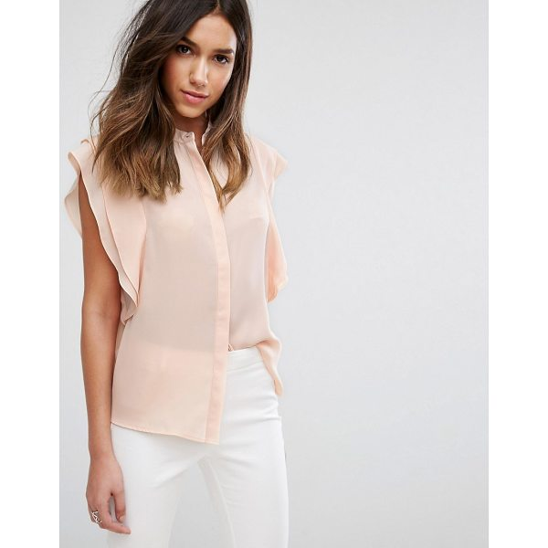 ASOS DESIGN blouse with frill shoulder - Blouse by ASOS Collection, Sheer woven fabric, Concealed...