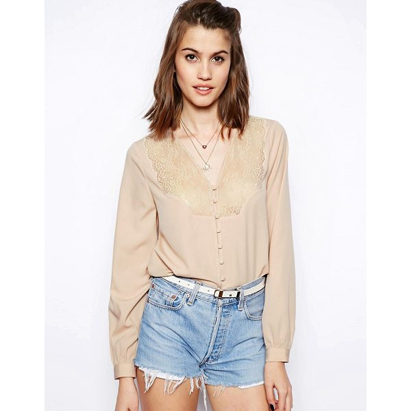 ASOS Blouse with V Neck and Lace Insert Placket - Blouse by ASOS Collection, Made from a breathable woven...