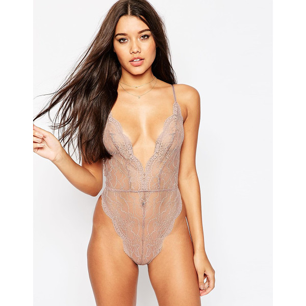 ASOS Bobbi Lace Up Back Bodysuit - Body by ASOS Collection, Sheer lace, Scalloped trims,...