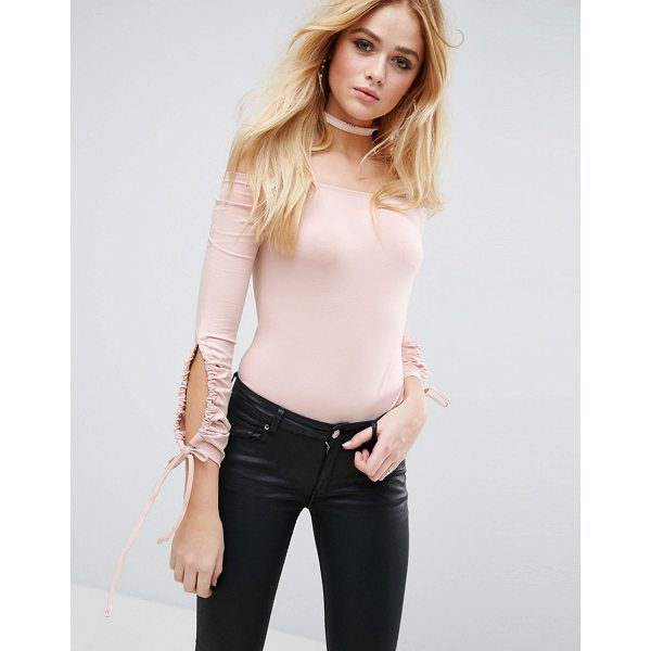 ASOS Body With Cold Shoulder And Ruched Sleeves - Body by ASOS Collection, Soft-touch jersey, Bardot...