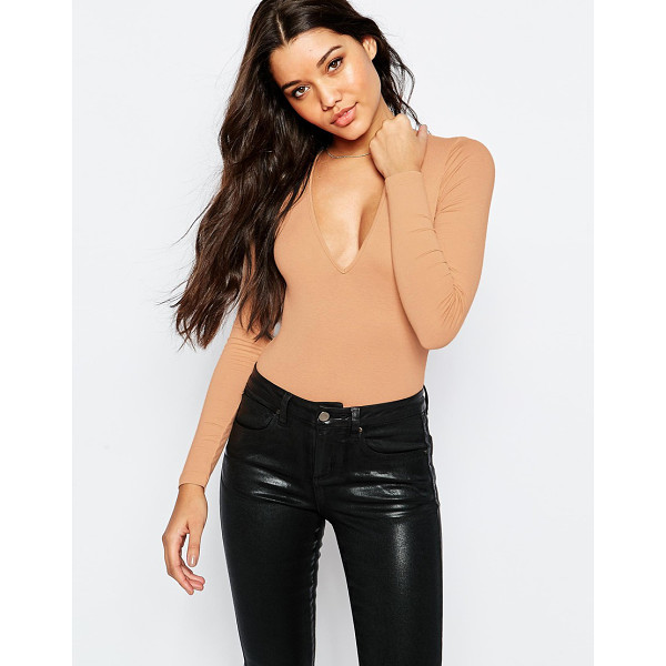 ASOS Body with v neck long sleeve and thong - Body by ASOS Collection Stretch jersey V-neckline Thong cut...