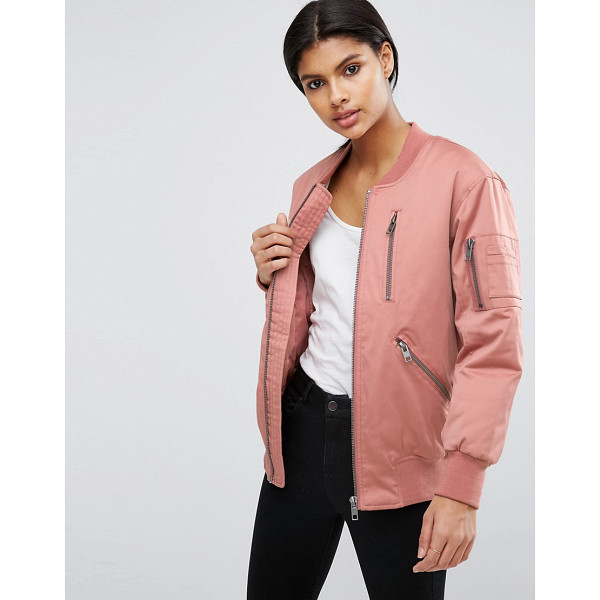 ASOS Bomber Jacket with Zip Detail - Bomber jacket by ASOS Collection, Lined woven fabric,...