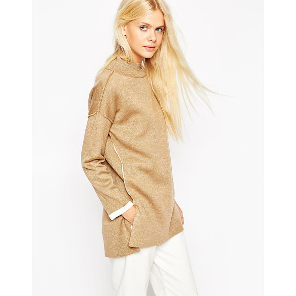 ASOS Bonded sweater with turtleneck - Sweater by ASOS Collection Bonded stretch knit Medium...