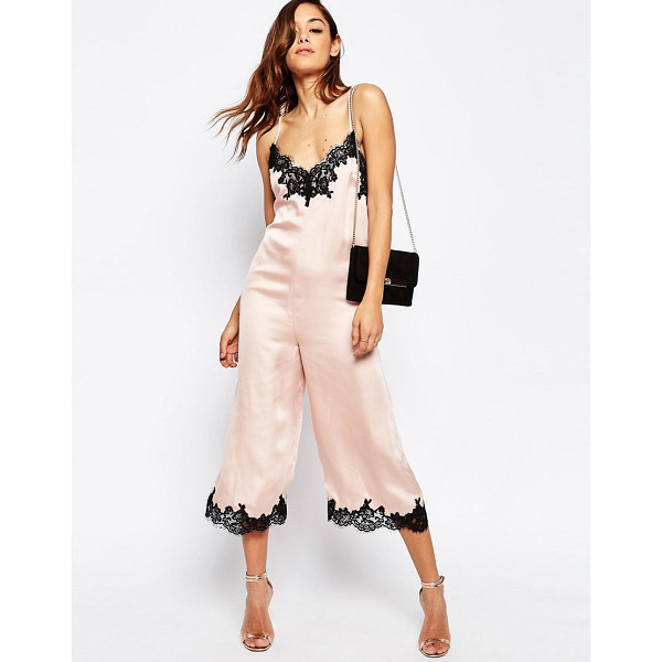 """ASOS Boudoir Lace Trim Jumpsuit - """"""""Jumpsuit by ASOS Collection, Smooth satin-style fabric,..."""