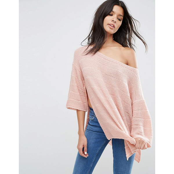 ASOS Boxy Sweater With Off Shoulder - Sweater by ASOS Collection, Ribbed knit, Off-shoulder cut,...
