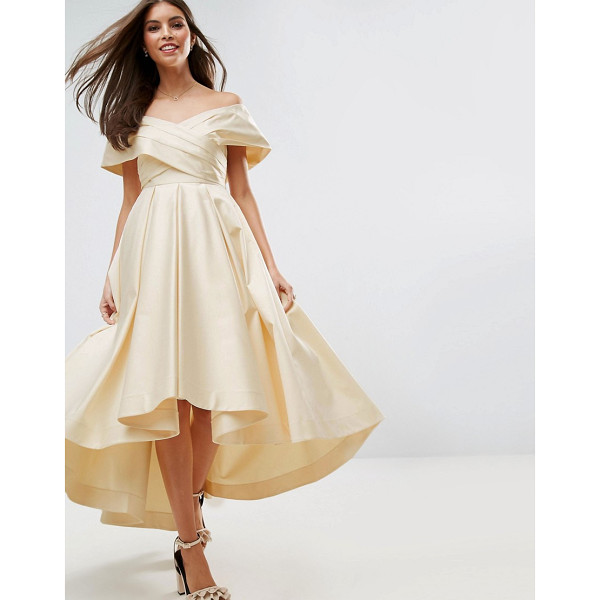 """ASOS BRIDAL Bonded Satin Prom Dip Back Midi Dress - """"""""Dress by ASOS Collection, Heavyweight woven fabric,..."""