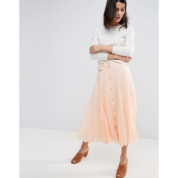 """ASOS Button Through Pleated Midi Skirt - """"""""Midi skirt by ASOS Collection, Lined woven fabric,..."""