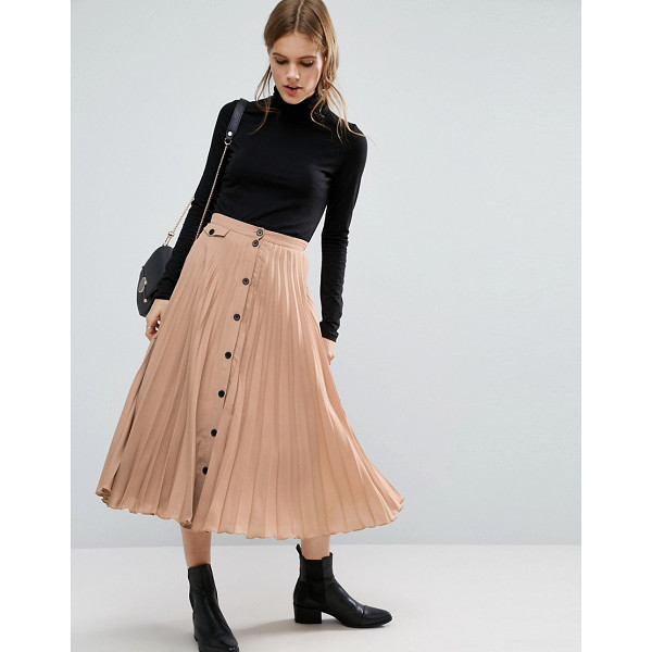 ASOS Button Through Pleated Midi Skirt - Skirt by ASOS Collection, Lightweight pleated fabric,...