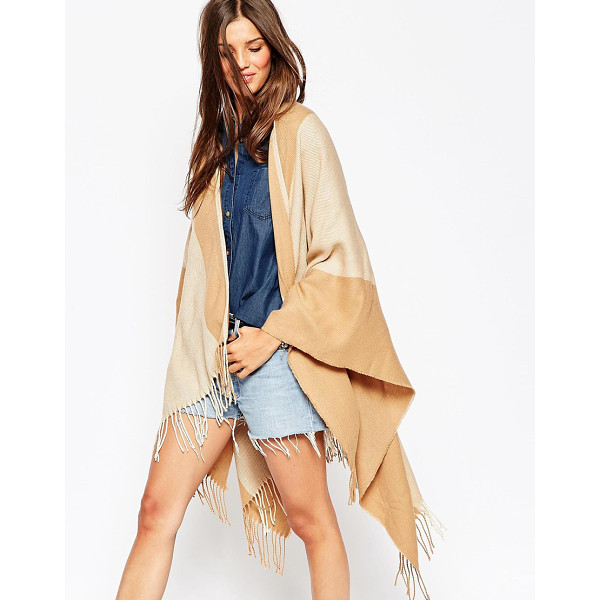 ASOS Camel stripe cape with tassels - Cape by ASOS Collection Woven fabric Striped design Open...