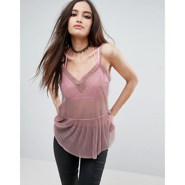 ASOS Cami In Metallic Shimmer Mesh - Top by ASOS Collection, Sheer mesh, Glitter finish, V-neck,...