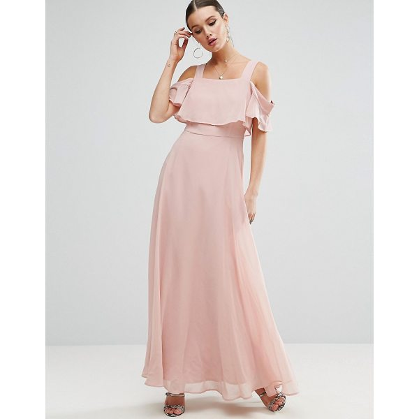 """ASOS Cami Cold Shoulder Flutter Sleeve Maxi Dress - """"""""Maxi dress by ASOS Collection, Smooth woven fabric,..."""