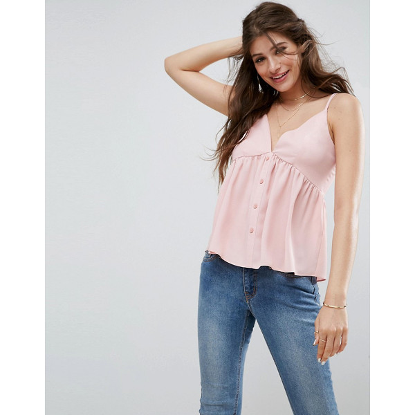 """ASOS Cami in Crinkle with Button Front - """"""""Top by ASOS Collection, Crinkled woven fabric, V-neck,..."""