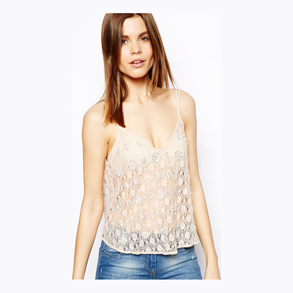 ASOS Cami Top in Beaded Lace - Top by ASOS Collection, Made from sheer lace fabric, Floral...