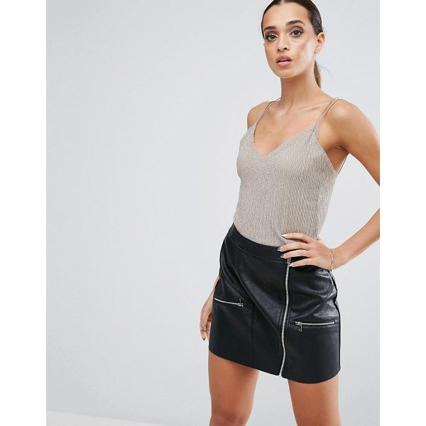 ASOS Cami Top in Metallic Shimmer - Top by ASOS Collection, Lined knitted fabric, Metallic...