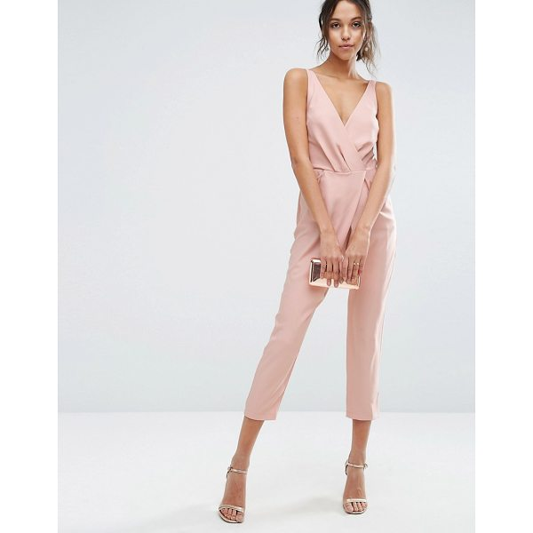 ASOS Cami Wrap Jumpsuit with Peg Leg - Jumpsuit by ASOS Collection, Woven fabric, Wrap front, Deep...