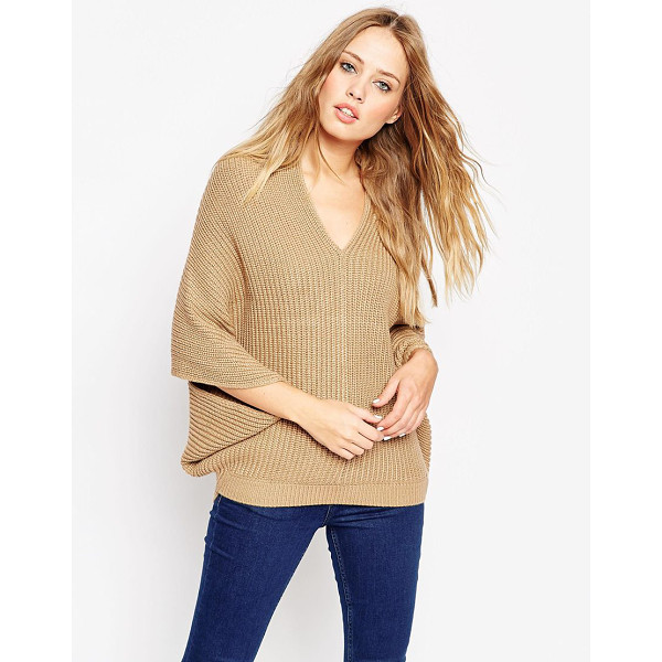ASOS Cape Sweater With V-Neck - Sweater by ASOS Collection, Chunky knit, V-neckline,...