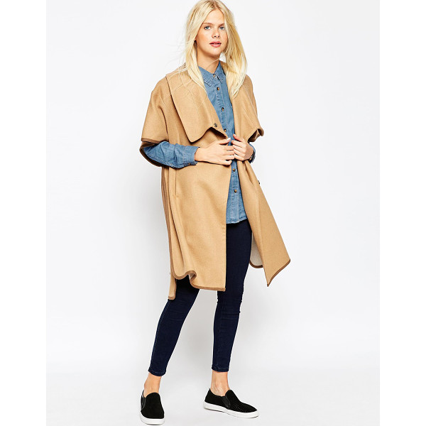 ASOS Cape with funnel neck - Coat by ASOS Collection Wool-mix Fully lined Funnel...
