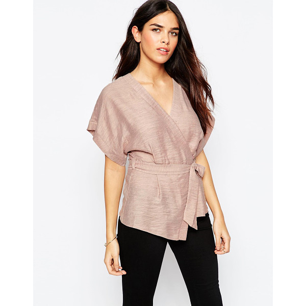 ASOS Casual Obi Band Wrap Blouse - Top by ASOS Collection, Lightweight woven fabric, Light...