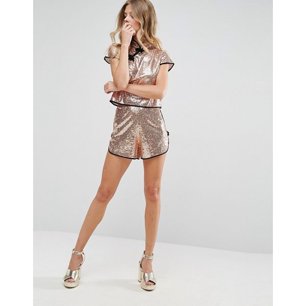 """ASOS Chinoiserie Sequin Shorts Co-ord - """"""""Shorts by ASOS Collection, Sequinned fabric, High-rise..."""