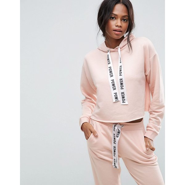 """ASOS Co-ord Hoodie With Raw Edges and Printed Tape - """"""""Hoodie by ASOS Collection, Soft-touch sweat, Drawstring..."""