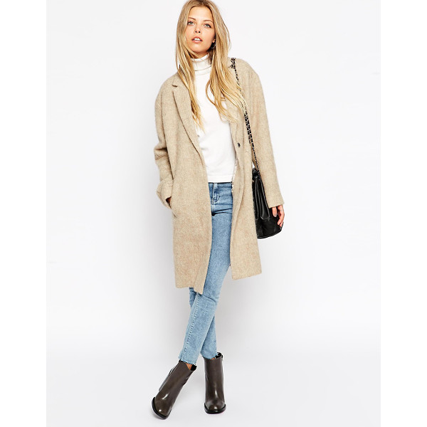 ASOS Coat in brushed fabric - Coat by ASOS Collection Mid-weight, fluffy-feel, brushed...