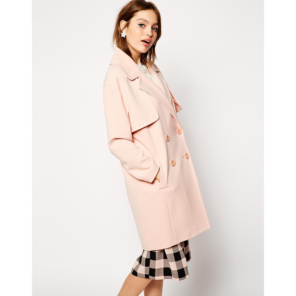 ASOS Coat in cocoon fit with stormflaps - Coat by ASOS Collection 64% Polyester, 30% Viscose, 6%...