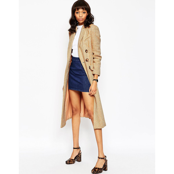 ASOS Coat in Midi Length with Raw Edge - Coat by ASOS Collection, Heavyweight woven fabric,...