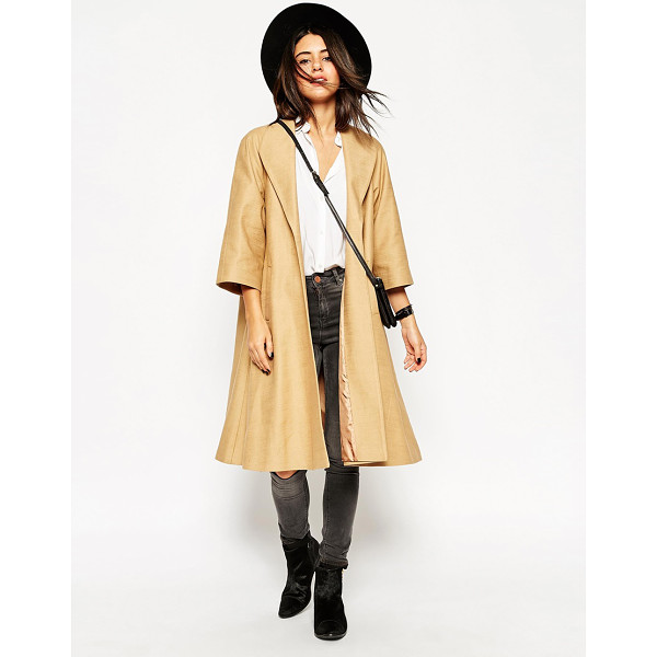 ASOS Coat in oversized swing with kimono sleeve - Coat by ASOS Collection Pure cotton Open front Cropped...